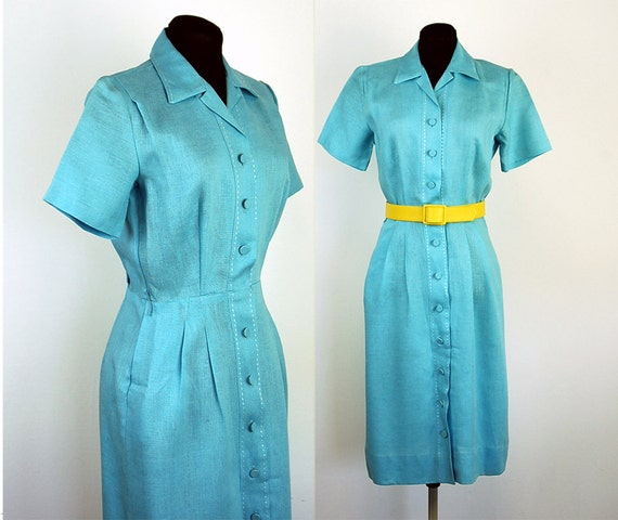 1950s dress, 1950s day dress, linen dress, Irish linen dress, blue linen dress, Tailor Town, shirtdress, Size M
