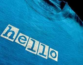 HELLO Adult Size Shirts blue gray Ready to Ship