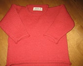Rolled Neck Pullover Sweater Child Size 12 - 18 Months/ Knit/100% Wool/ Currant Red/Mustard Yellow/Green/Blue/Purple/Brown/Gray