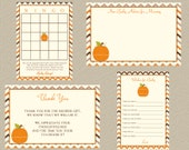 Digital Little Pumpkin Autumn Chevron Fall Baby Shower Suite: Advice, Wishes, Thank You, Baby Bingo,  Print Yourself, DIY, INSTANT download