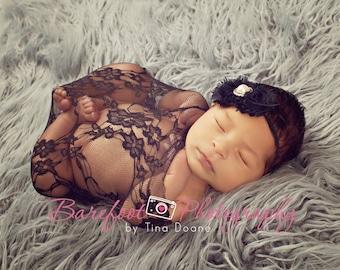 SALE Newborn Girl Wrap, Navy Blue Lace Wrap, Baby Girl Photo Prop, Newborn Stretch Wrap, Blue Baby Prop, Stretchy Fabric Wrap