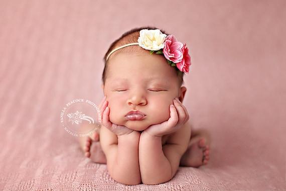 Newborn Girl Flower Headband, Pink & Ivory Roses, Baby Girl Headband, Newborn Girl Photo Prop, Skinny Elastic Headband,