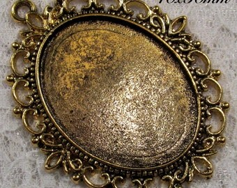 40x30mm Antique Gold Setting - Old World Lace - 1 pc : sku 08.02.13.2 - V17