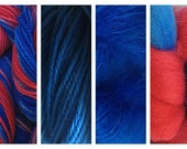Hand Dyed Samples of Merino Wool DK Sport Weight Yarn in Super Hero