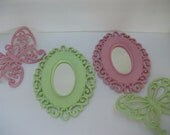 Upcycled Vintage faux wicker Mirrors with Butterflies