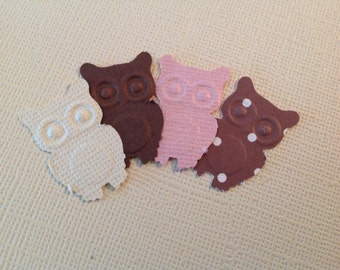 Pinks and Brown Paper Owls 50 pc Confetti Table Decorations   NEW BABY