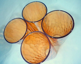 Mid Century Tall Amber Carnival Glass Tumblers Set of 4