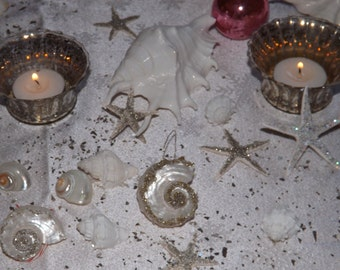 Set of 10 teeny weeny 1 inch or less starfish decorated with German glass glitter 4 ur Christmas tree, cabinet knobs, or gift toppers.