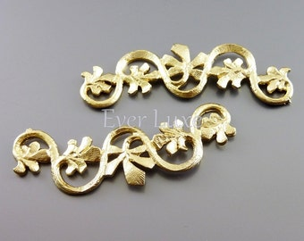 2 curvy branch with leaf pendants, matte gold metal pendants / jewelry supplies / metal craft supplies 1531-MG (matte gold, 2 pieces)
