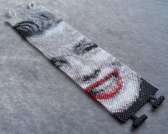 Marilyn Monroe in Black and White Bracelet Pattern - Peyote Stitch