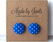 Alice in Wonderland Blue and White Polka Dot Handmade Fabric Covered Hypoallergenic Button Post Stud Earrings 10mm