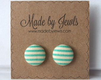 Fabric Button Earrings - Minty Tint - Buy 3, get 1 free
