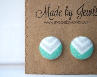 Fabric Covered Button Earrings - Mellow Arrow - Buy 3, get the 4th FREE