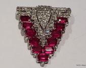 Vintage Art Deco Red Rhinestone Brooch Triangle