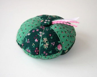 Green Floral Pincushion - Green and Pink Needle Cushion - Pin Cushion