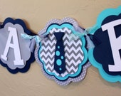 Little Man Neck Tie Chevron Stripe Polka Dot IT'S A BOY or NAME Banner Navy Blue Gray Turquoise Baby Shower Birthday Party BowTie Decoration