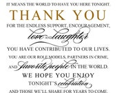 Thank you Wedding Sign - Wedding and Event Signage - Your choice of size and cardstock - Customized and ready to frame