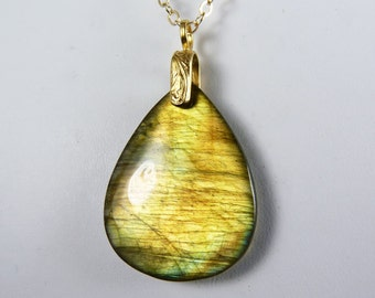 Labradorite Necklace, Large Reversible Natural Labradorite Teardrop Pendant with Glowing Gold, Copper, and Green Flash on a Gold Chain