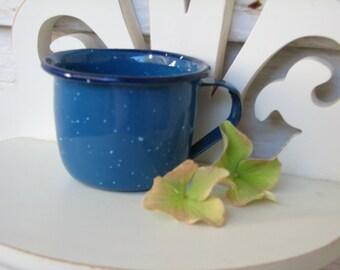 Child's Enamelware Cup - Splatterware - Vintage - Camping - Playhouse - Decor - Tableware - Graniteware - Tableware