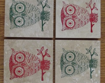 Christmas Owl Coasters Green Red Owl Owls Coasters Tile Coasters Travertine - Set of 4 - Home Decor, Gift or Keep a Set for Yourself