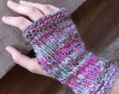 Pink and Rugged - Handspun, handknit mitts