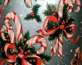 SALE 15% off use coupon code goodbye15, Candy cane wrapping paper, vintage 1950s new old stock