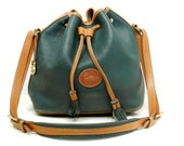 Dooney and Bourke Drawstring Cross Body Bag // Large British Green and British Tan  AWL