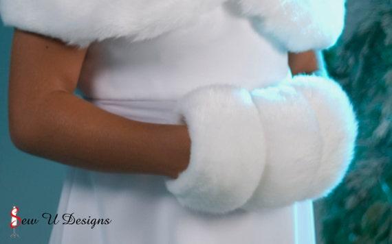 Faux fur hand Muff for Flower Girl winter wedding hand warmer