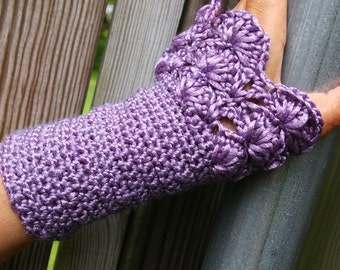 Arm Wamers in Metallic Purple Radiant Orchid Hand Crocheted