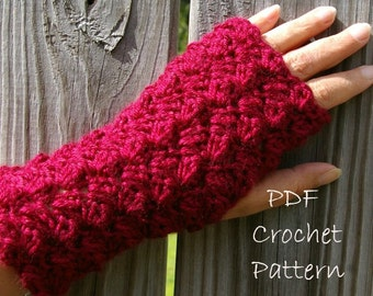 Crochet Pattern Fingerless Gloves Puff Pattern PDF