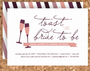 Toast the Bride Bridal Shower Design (DIY Printable Wedding, Baby Shower, or Birthday Invitation) - Print Your Own Party