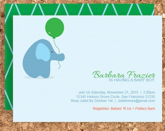 Elephant with Balloon Baby Shower Invitation (DIY Printable Baby Shower, Birthday, or Welcome Baby Invite) - Print Your Own Party