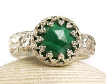 Sterling Silver Faceted Malachite Ring, Natural Green Gemstone, Handmade FIne Jewelry, made to order