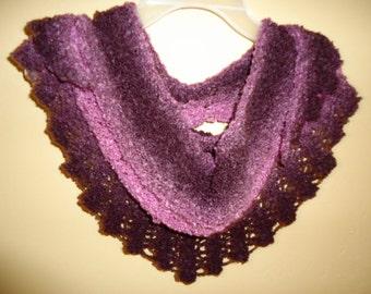 Purple shades triangle neck scarf handknit