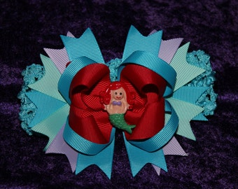 """One 4"""" bow on alligator clip Ariel Little Mermaid bow with headband FREE shipping USA"""