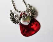 Guitar Pick Necklace Winged Heart Red Pearloid