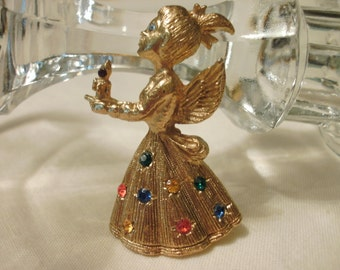 Vintage Christmas Angel Brooch Gold Tone Colored Rhinestones FREE SHIPPING
