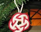 Nautical Christmas Ornament Sailor Knot Turks Head Red Outline Cotton