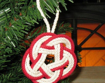 Nautical Christmas Ornament Sailor Knot Turks Head Red Outline Cotton