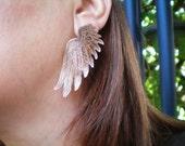 angel wings  copper wings  etched metal bird wings  feathers  angel wing earrings  clip on earrings  metal earrings etched metal jewelry