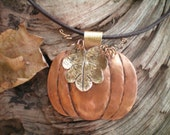 pumpkin necklace forged copper pumpkin hand forged leaf Autumn Thanksgiving jewelry fall  jewelry copper and brass necklace Autumn fashion