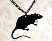 Black Rat necklace in stainless steel - gothic necklace, silhoutte rat, animal jewelry, rat jewelry