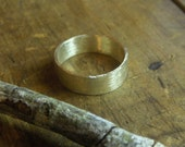 14K Gold Wedding Band Unisex made to order. 6mm wide simple minimalist band Brushed finish