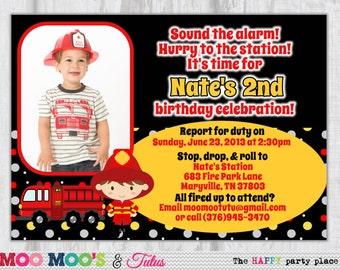 Fire Truck Invitation - FUN AND FIRETRUCKS Design - Customized Photo Invitation by Moo Moo's & Tutus Design Studio