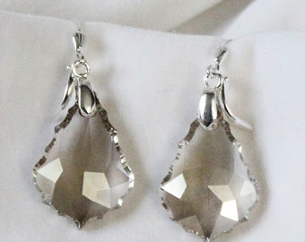 Silver shade Swarovski Crystal Barque Earrings