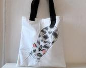Cat  Tote Bag, Handpainted Cotton Tote
