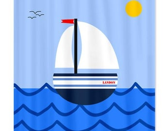 Sailboat Personalized Kids Shower Curtain
