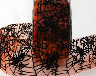 "Halloween Ribbon, Spider Web Ribbon, 2"" wide, Halloween, Halloween Wreaths, Party Supplies, Costumes, Sewing, Gift Wrapping"