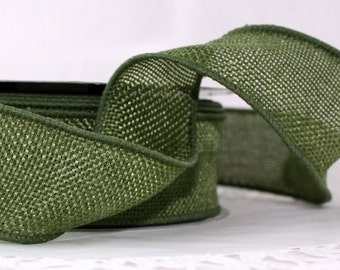 "Wired Olive Green Faux Burlap Ribbon 1.5"" wide Ribbon by the yard Wreaths, Weddings, Bows, Crafts, Gift Wrap, Sewing, No Shed, Burlap"