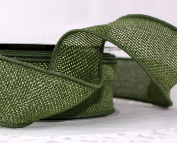 Olive green ribbon wired burlap ribbon by the by for Green burlap ribbon